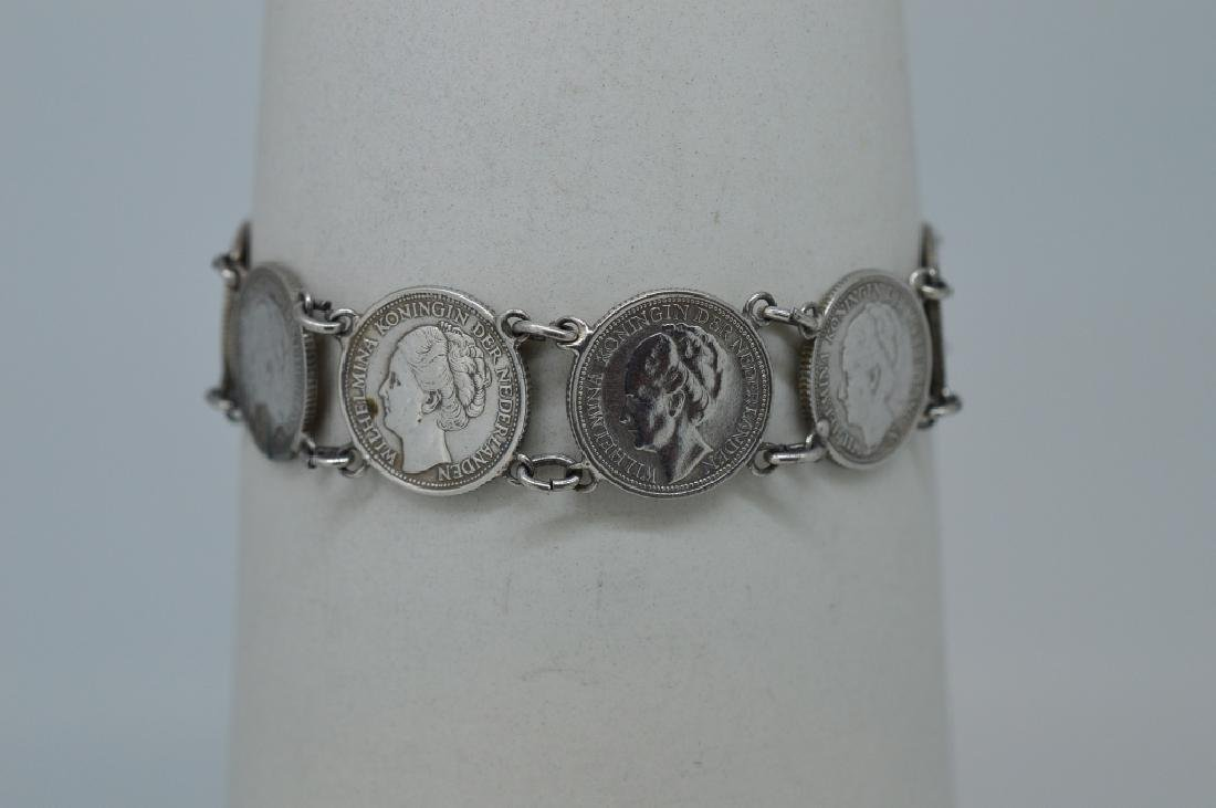 "Ladies 7"" Silver plated coin Bracelet - 2"