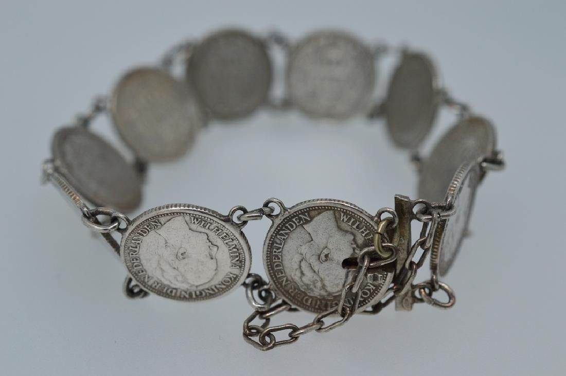 "Ladies 7"" Silver plated coin Bracelet - 3"