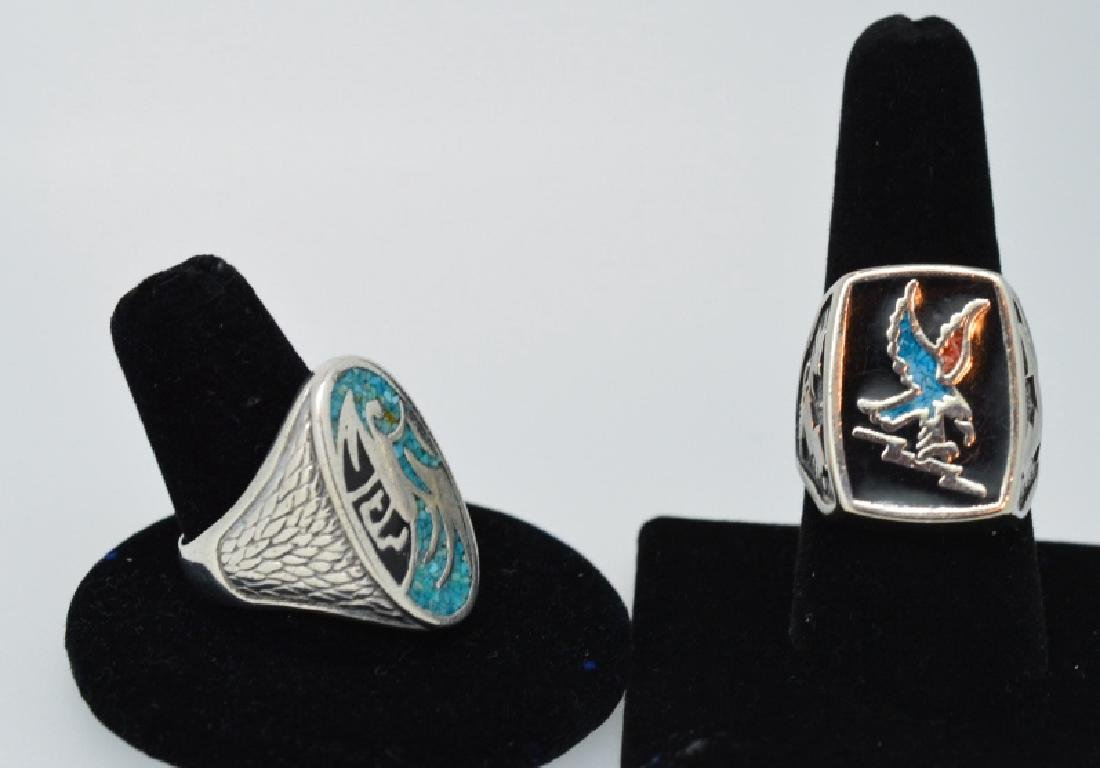 Pair of Mens Fancy Silver plated rings, size 9 &10