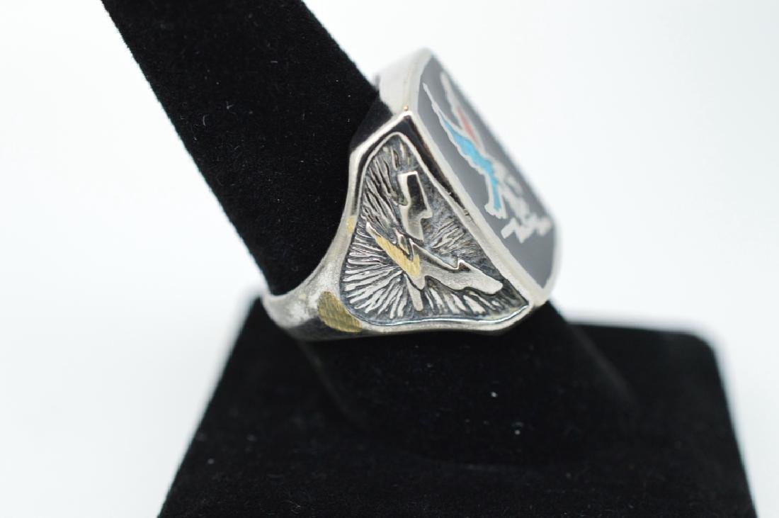 Pair of Mens Fancy Silver plated rings, size 9 &10 - 3