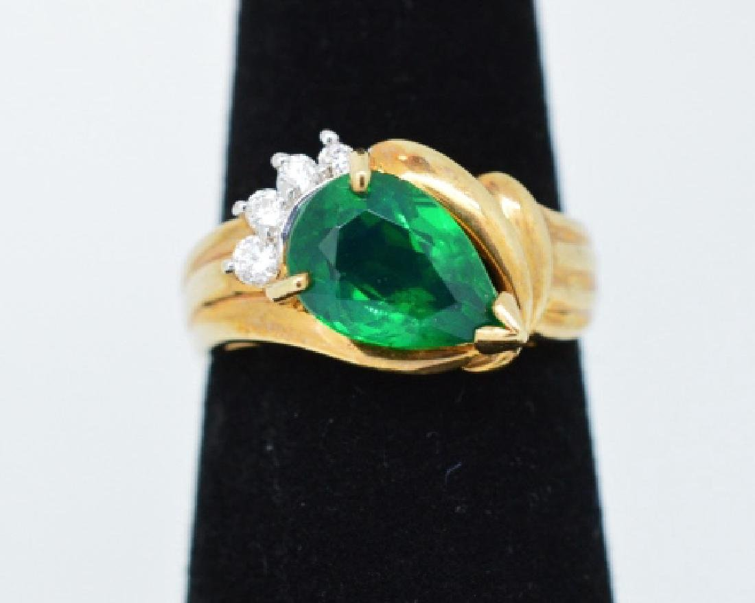 Ladies 14k Gold, Beryl and Diamond Ring Size 6 1/4