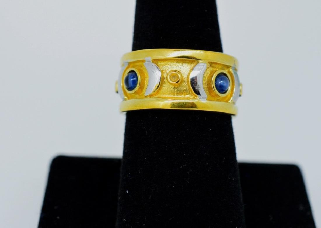 Ladies Gold Plated ring w blue stones, size 7 1/2