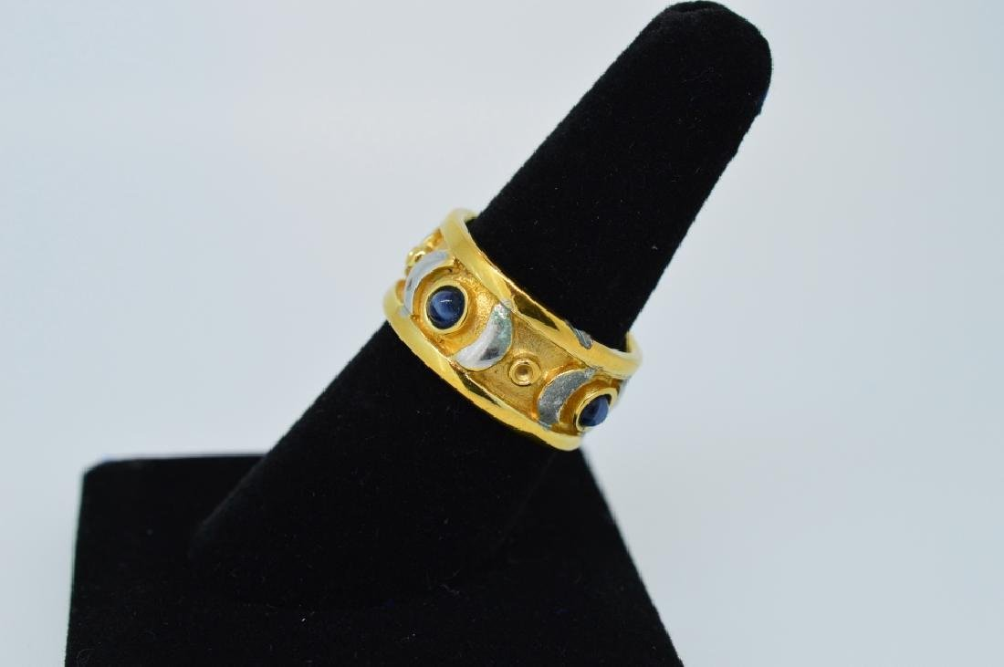 Ladies Gold Plated ring w blue stones, size 7 1/2 - 2