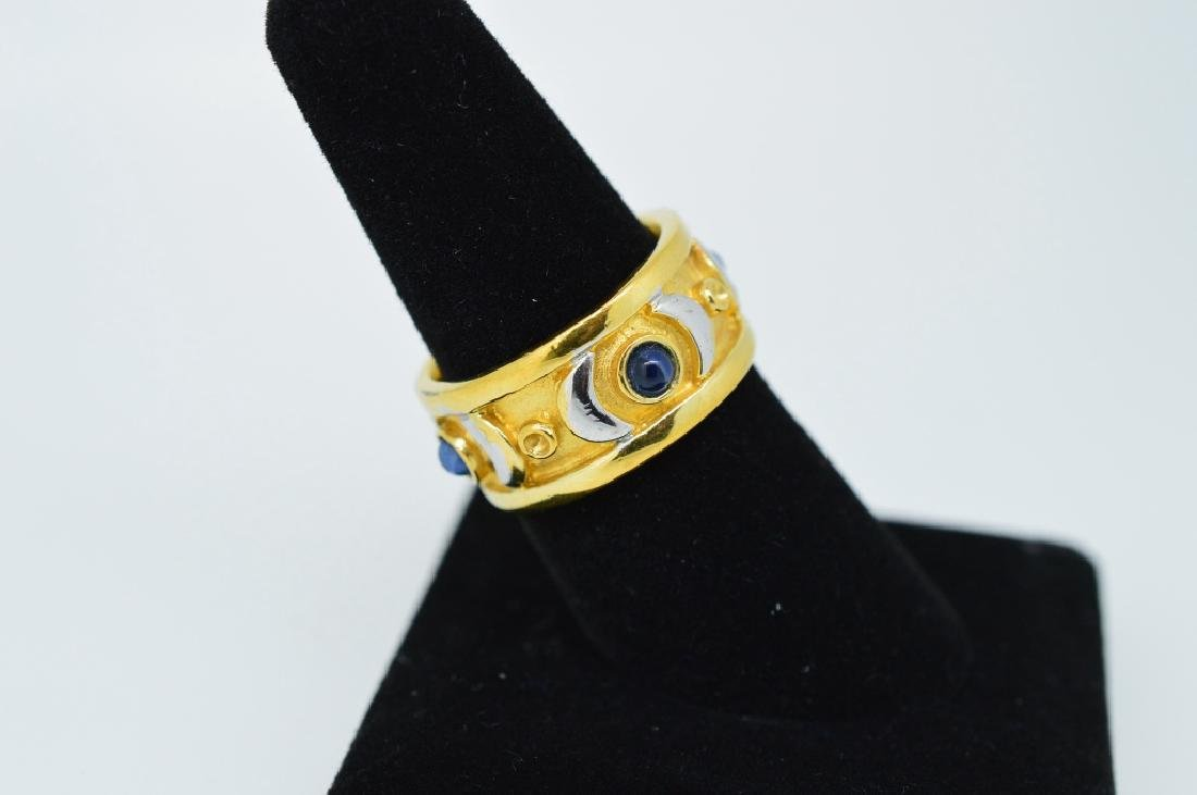 Ladies Gold Plated ring w blue stones, size 7 1/2 - 3
