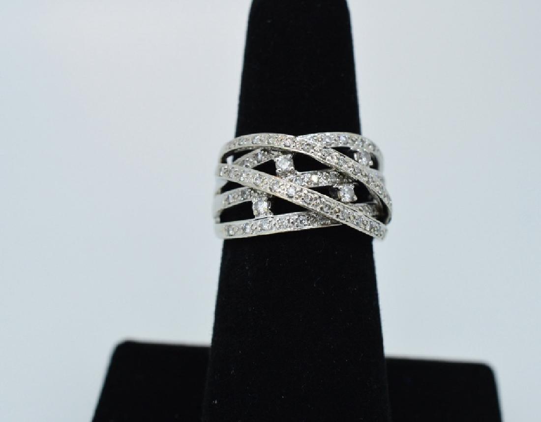 Ladies14k WhiteGold&Diamond Twisted Band Sz 5 3/4