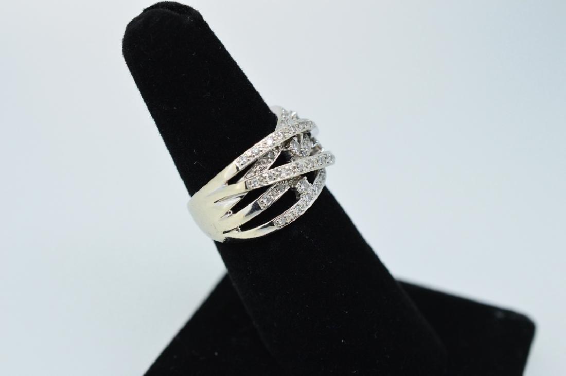 Ladies14k WhiteGold&Diamond Twisted Band Sz 5 3/4 - 2