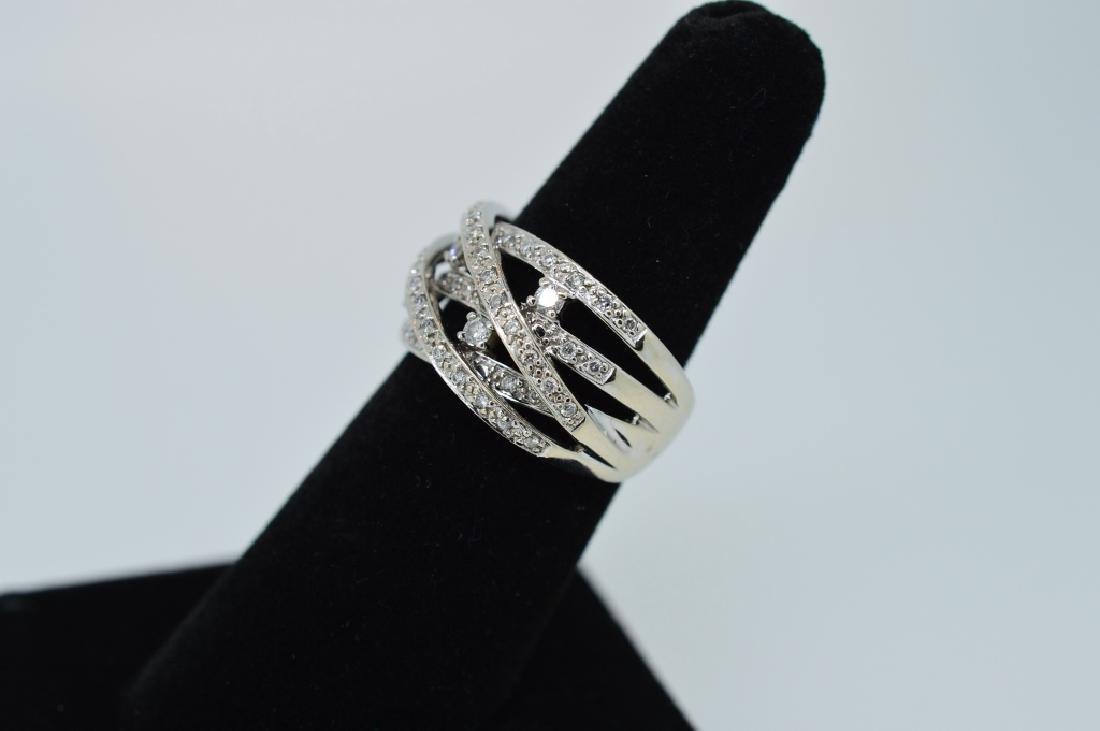Ladies14k WhiteGold&Diamond Twisted Band Sz 5 3/4 - 3