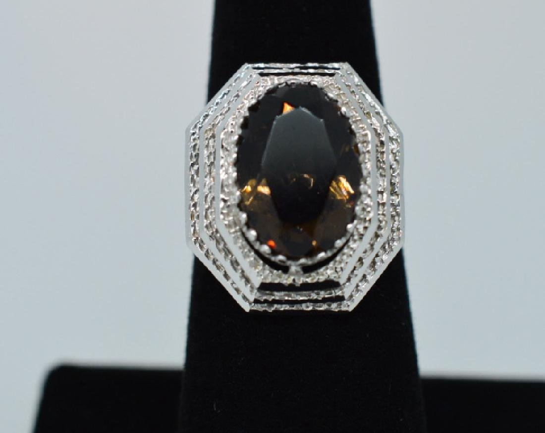 Ladies14k White Gold&Smokey Topaz Ring, Sz 6 1/2