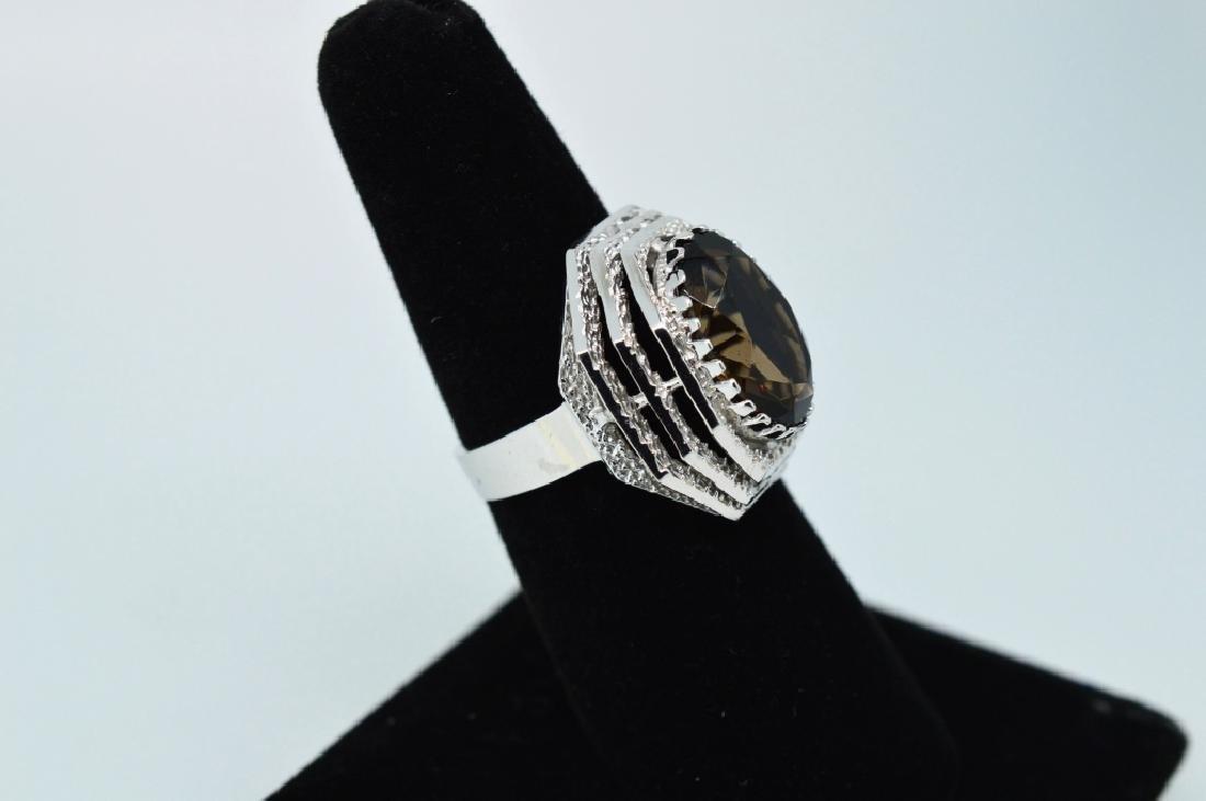 Ladies14k White Gold&Smokey Topaz Ring, Sz 6 1/2 - 2