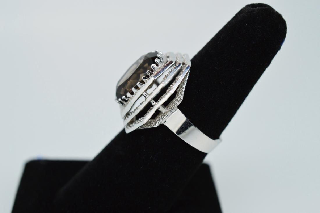 Ladies14k White Gold&Smokey Topaz Ring, Sz 6 1/2 - 3