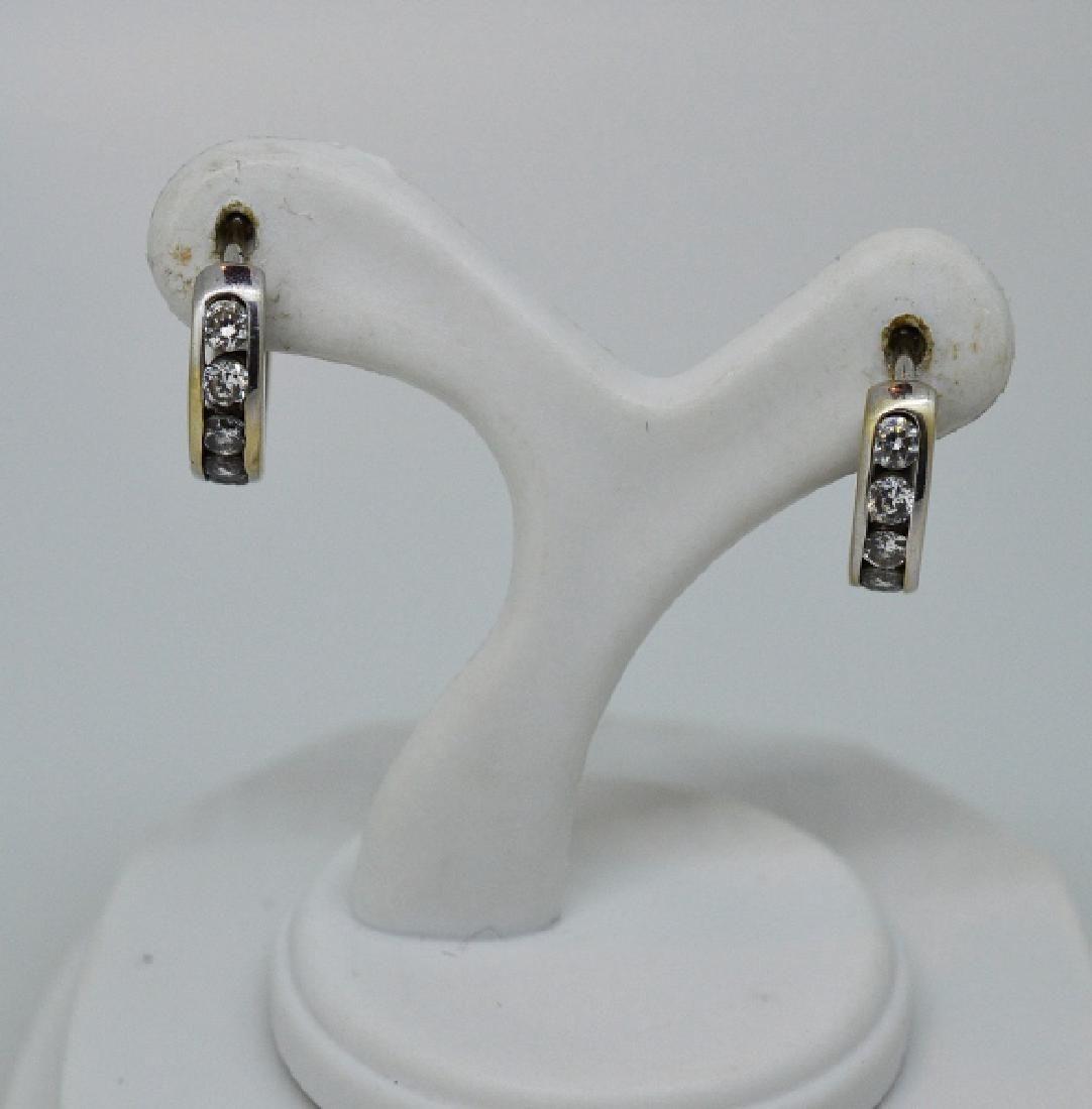 Ladies14k White Gold &Diamond Huggie Type Earrings