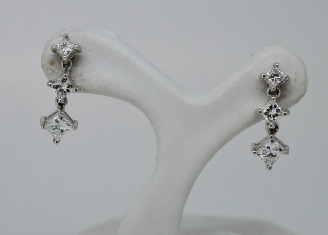 Ladies14k White Gold&Diamond Drop Pierced Earrings