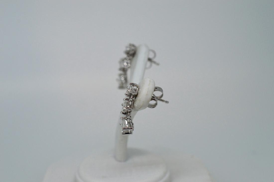 Ladies14k White Gold&Diamond Drop Pierced Earrings - 2