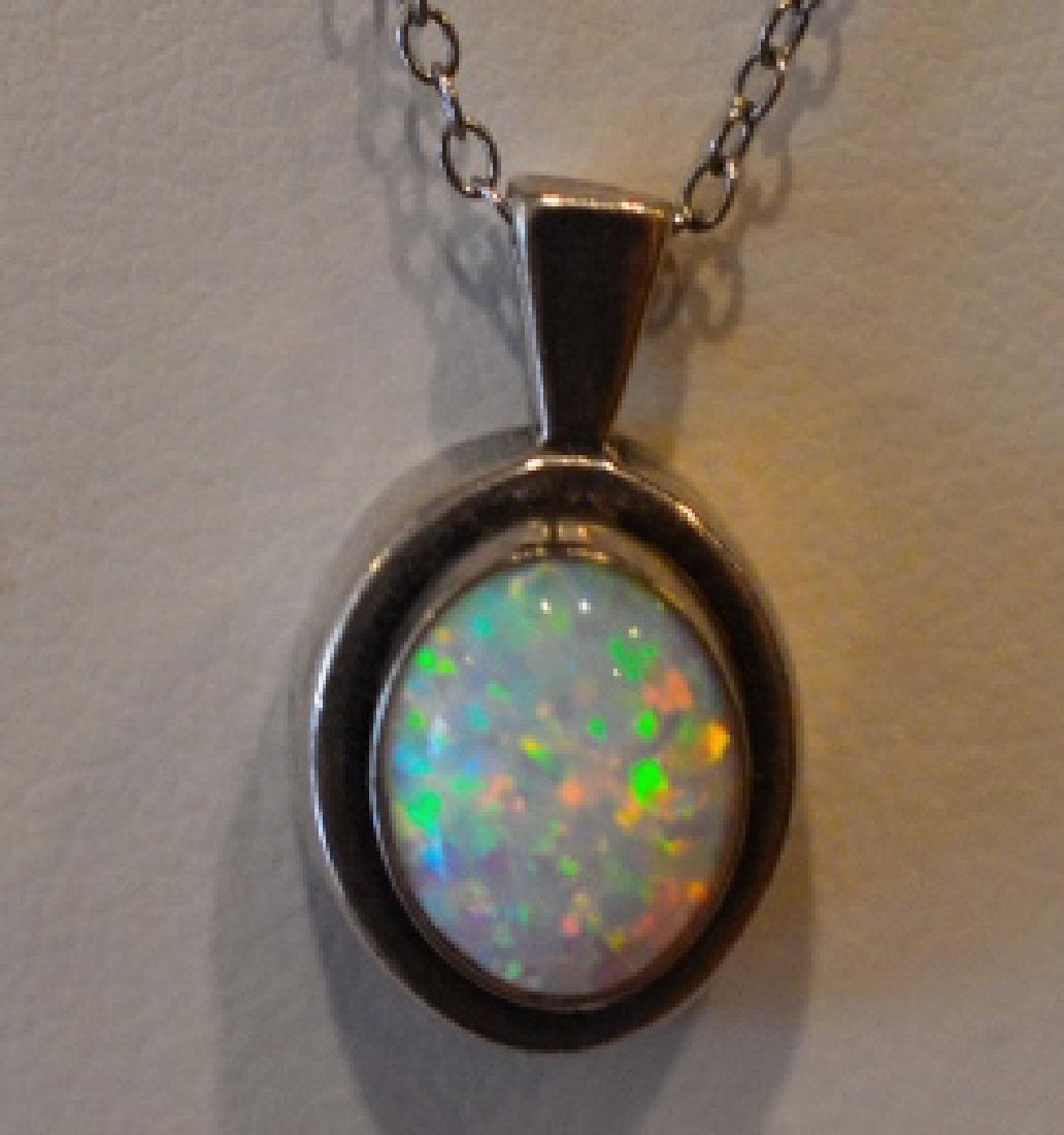 "Ladies 18"" opal pendant sterling necklace"