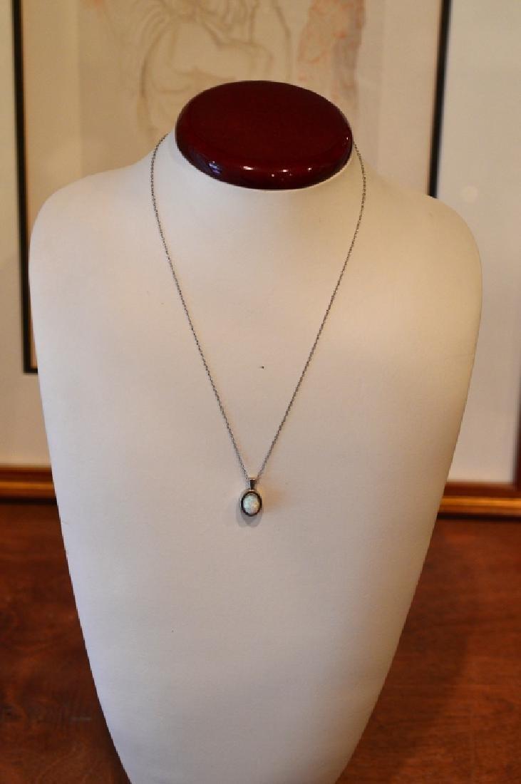 "Ladies 18"" opal pendant sterling necklace - 2"