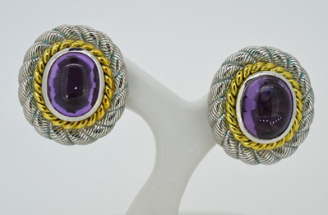Judith Ripka Goldclad Sterling Earrings W Amethyst