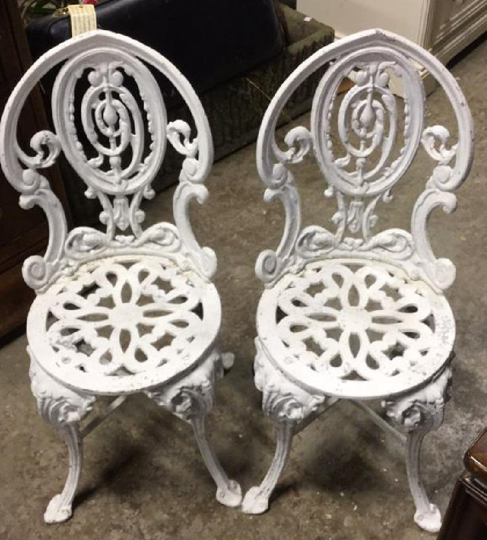 Pair Vintage Iron and Metal Garden Chairs