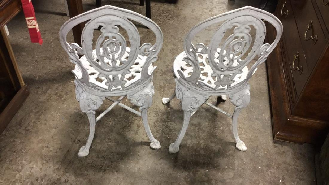 Pair Vintage Iron and Metal Garden Chairs - 7