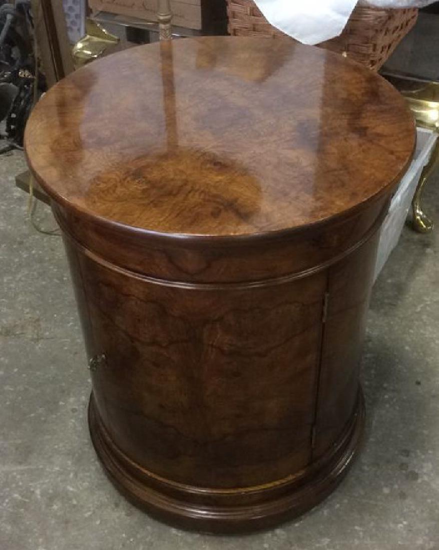 Henredon Burled Walnut Cylindrical Drum Table - 10