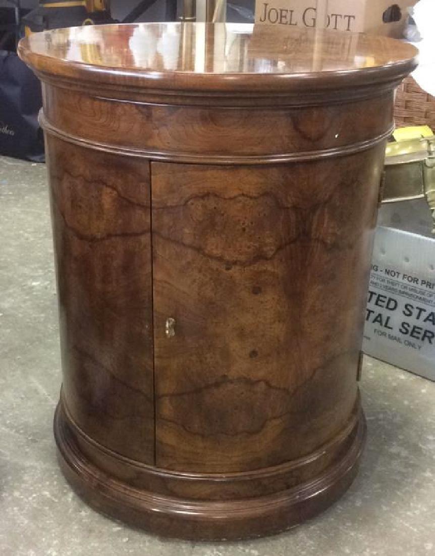 Henredon Burled Walnut Cylindrical Drum Table