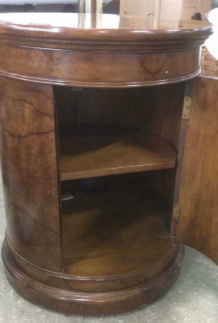 Henredon Burled Walnut Cylindrical Drum Table - 2