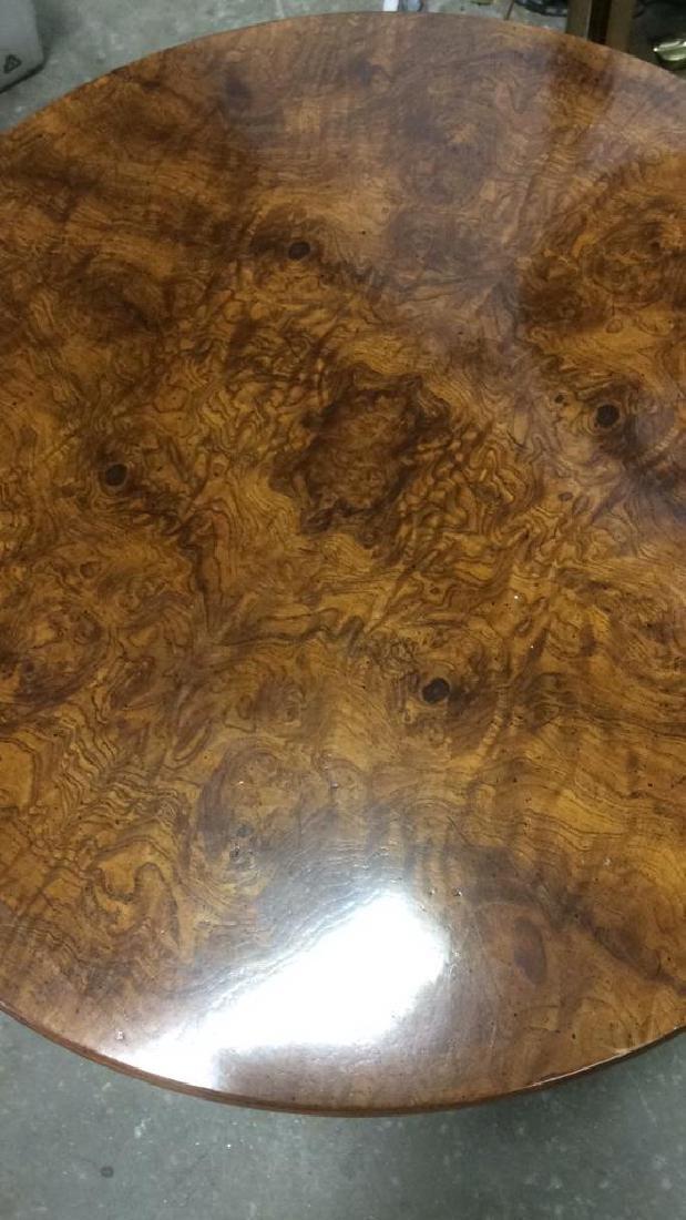 Henredon Burled Walnut Cylindrical Drum Table - 3