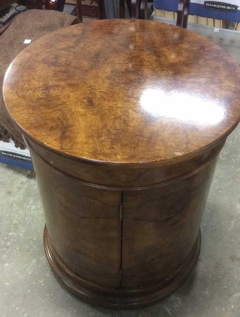 Henredon Burled Walnut Cylindrical Drum Table - 4