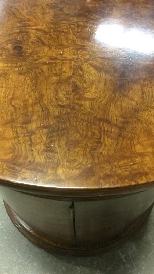 Henredon Burled Walnut Cylindrical Drum Table - 5
