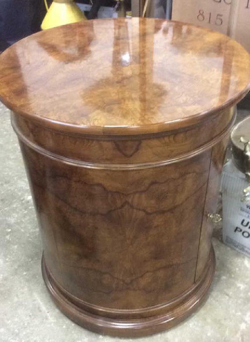 Henredon Burled Walnut Cylindrical Drum Table - 6