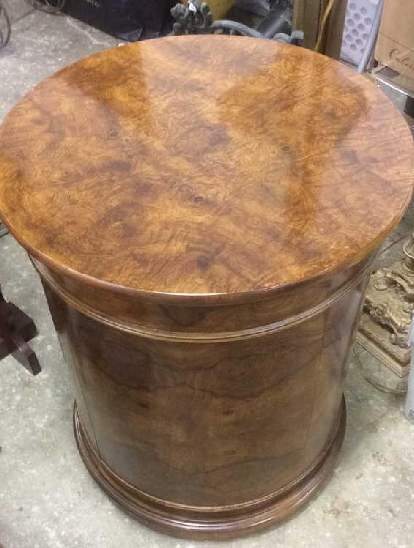 Henredon Burled Walnut Cylindrical Drum Table - 7
