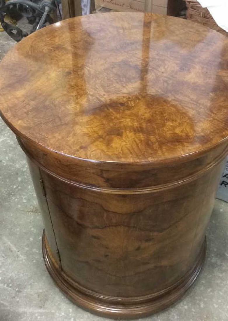 Henredon Burled Walnut Cylindrical Drum Table - 8