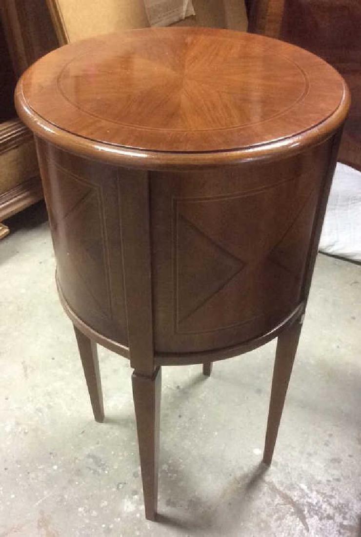 Walnut veneered Cylindrical Side Table