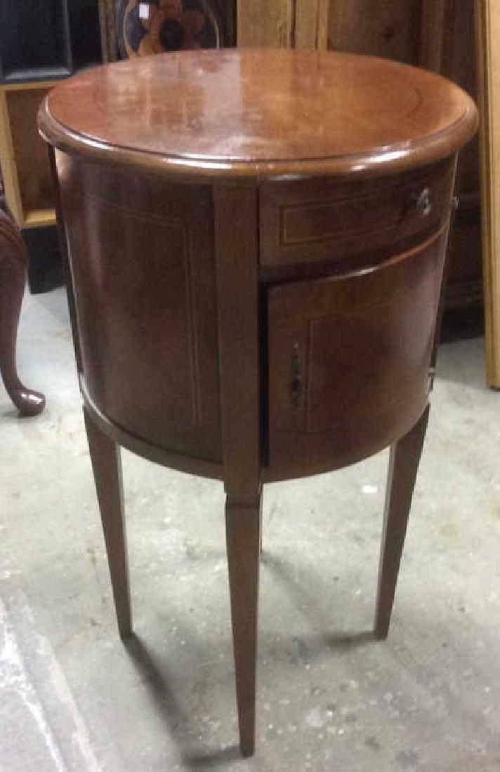 Walnut veneered Cylindrical Side Table - 6