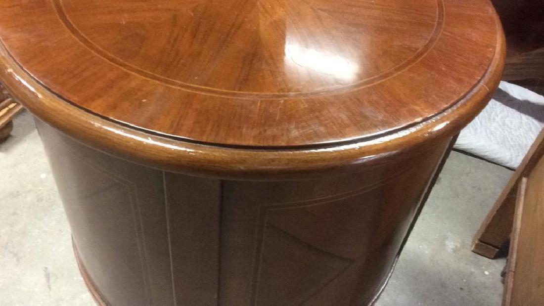 Walnut veneered Cylindrical Side Table - 8