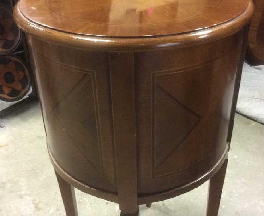 Walnut veneered Cylindrical Side Table - 9