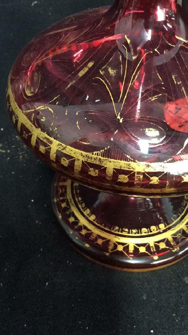 Lot 2 Ruby Toned Ornate Art Glass - 2