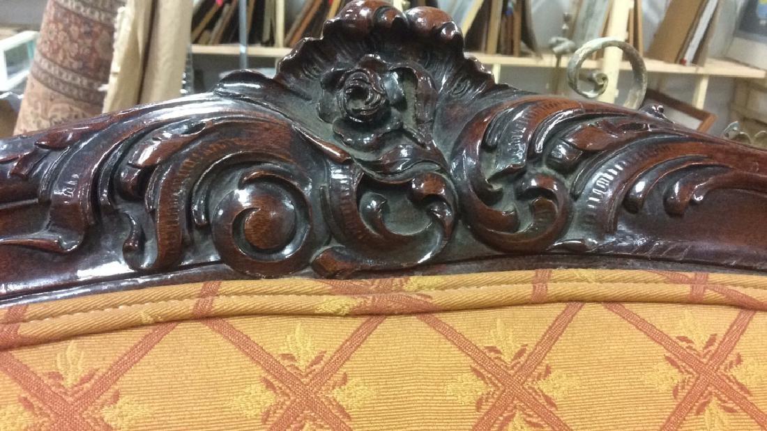 Vintage Carved Upholstered C Shaped Bergere - 10