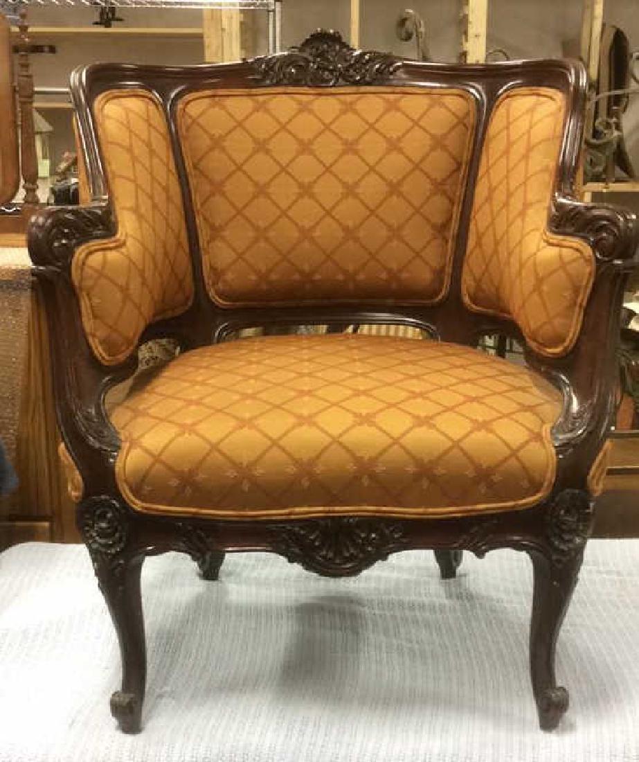 Vintage Carved Upholstered C Shaped Bergere