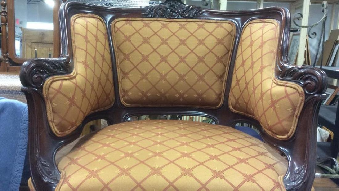 Vintage Carved Upholstered C Shaped Bergere - 2