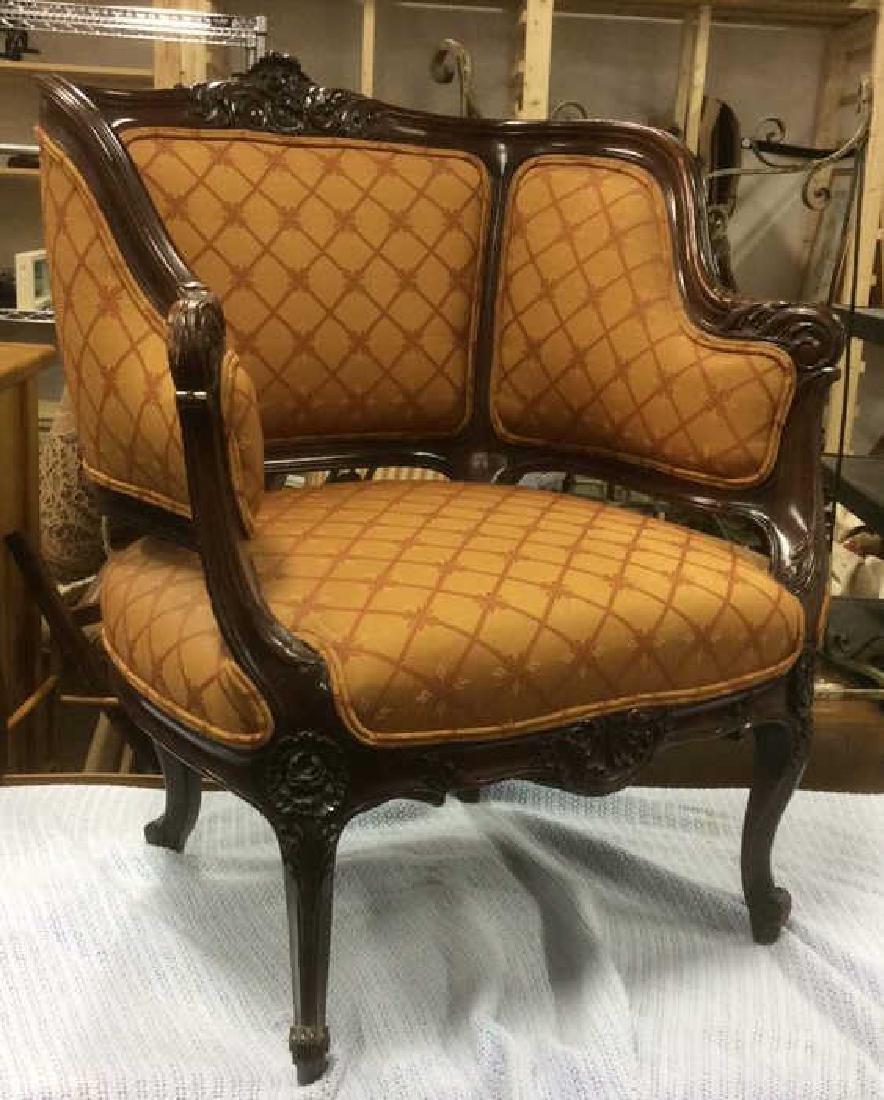 Vintage Carved Upholstered C Shaped Bergere - 4