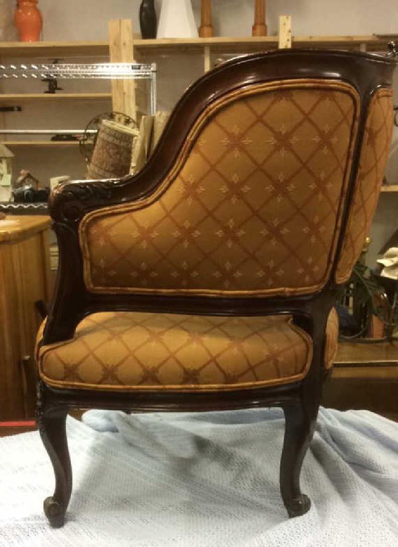 Vintage Carved Upholstered C Shaped Bergere - 7