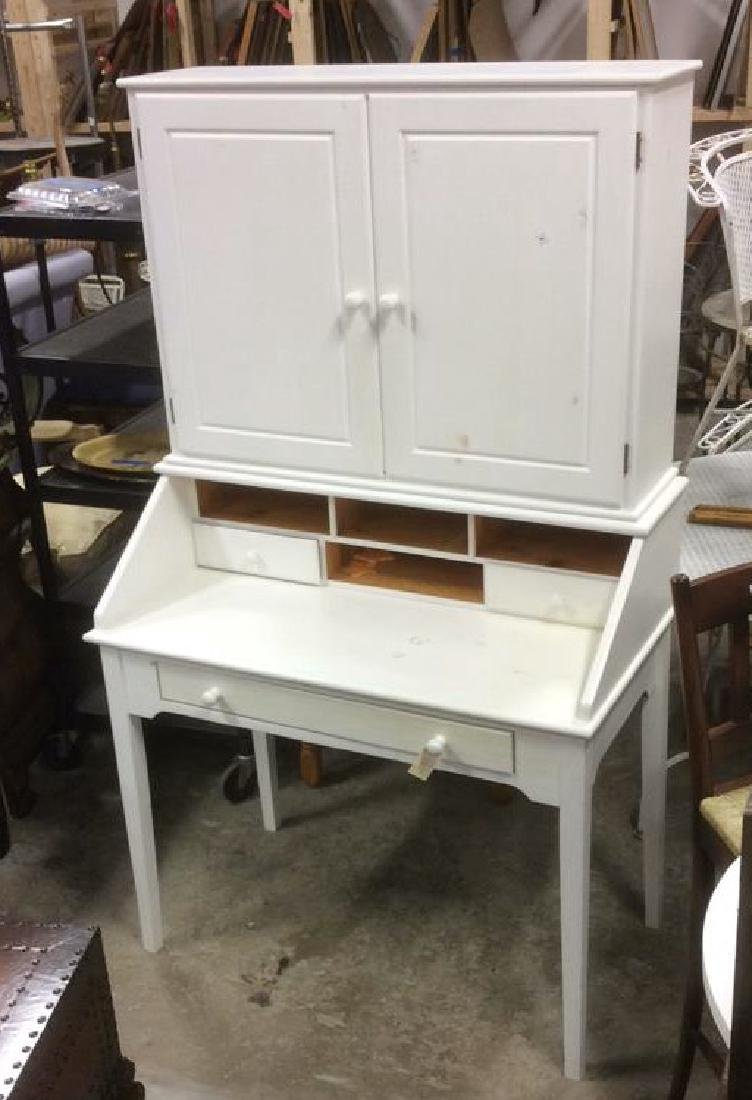 White Painted Desk W upper Cabinet