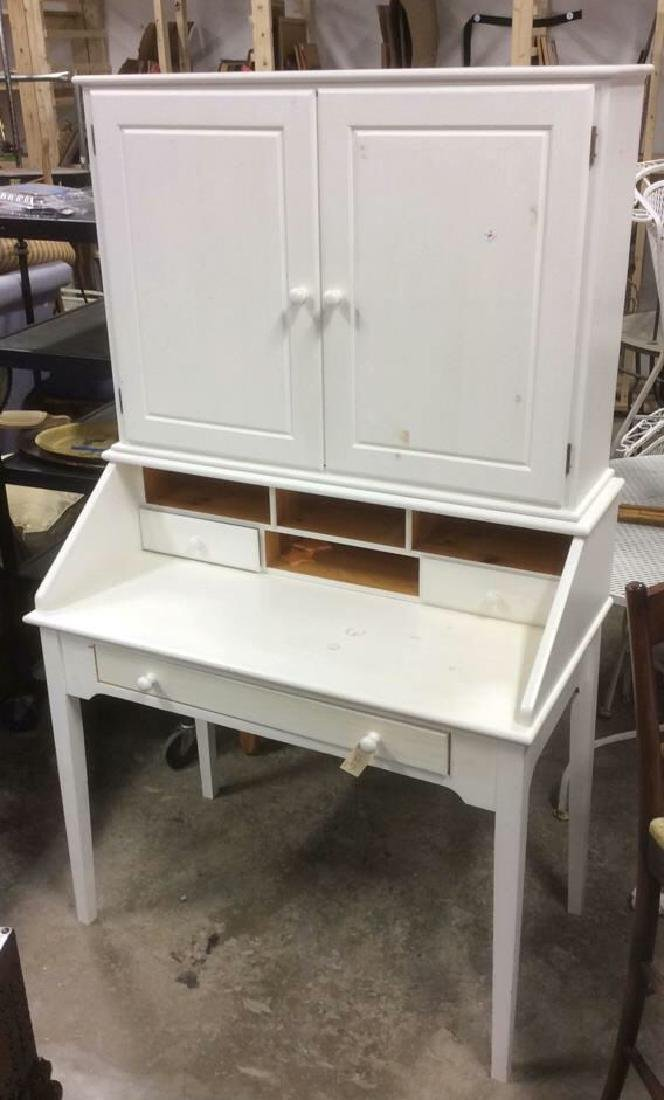 White Painted Desk W upper Cabinet - 2