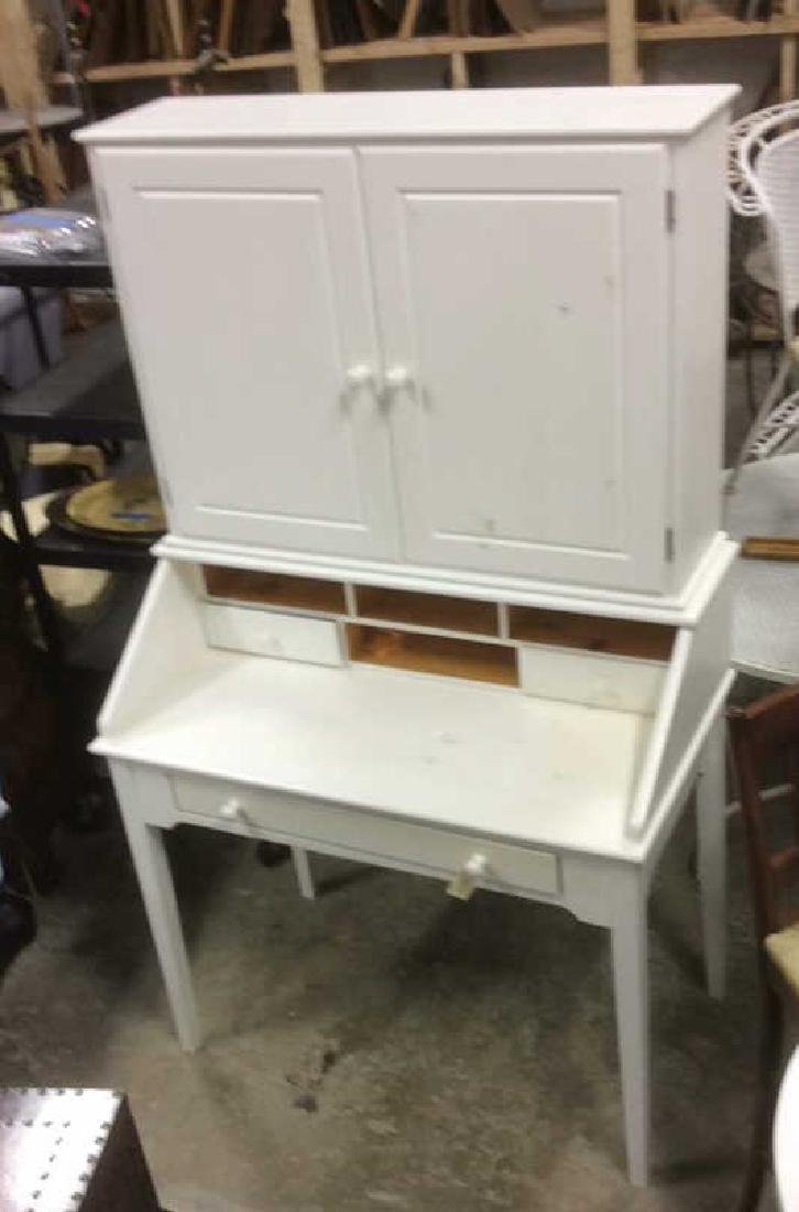 White Painted Desk W upper Cabinet - 3