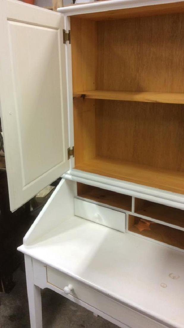 White Painted Desk W upper Cabinet - 5