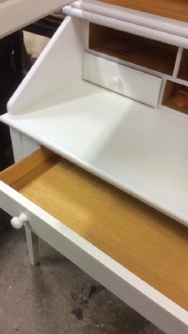 White Painted Desk W upper Cabinet - 6
