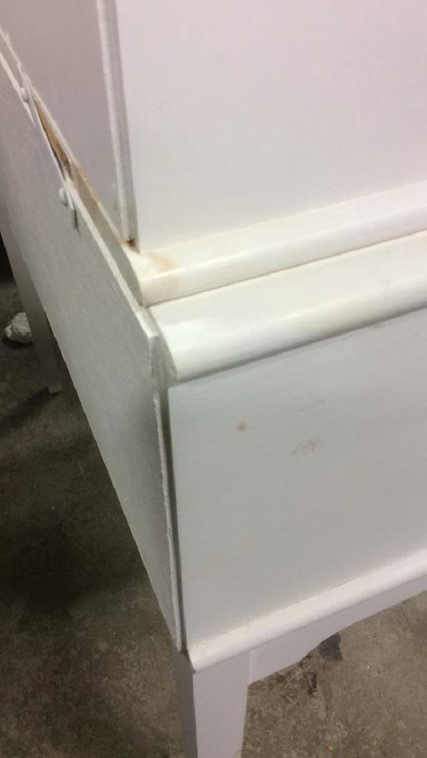 White Painted Desk W upper Cabinet - 7