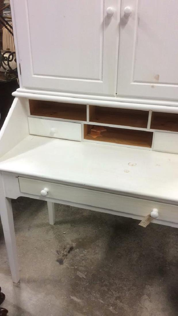 White Painted Desk W upper Cabinet - 9