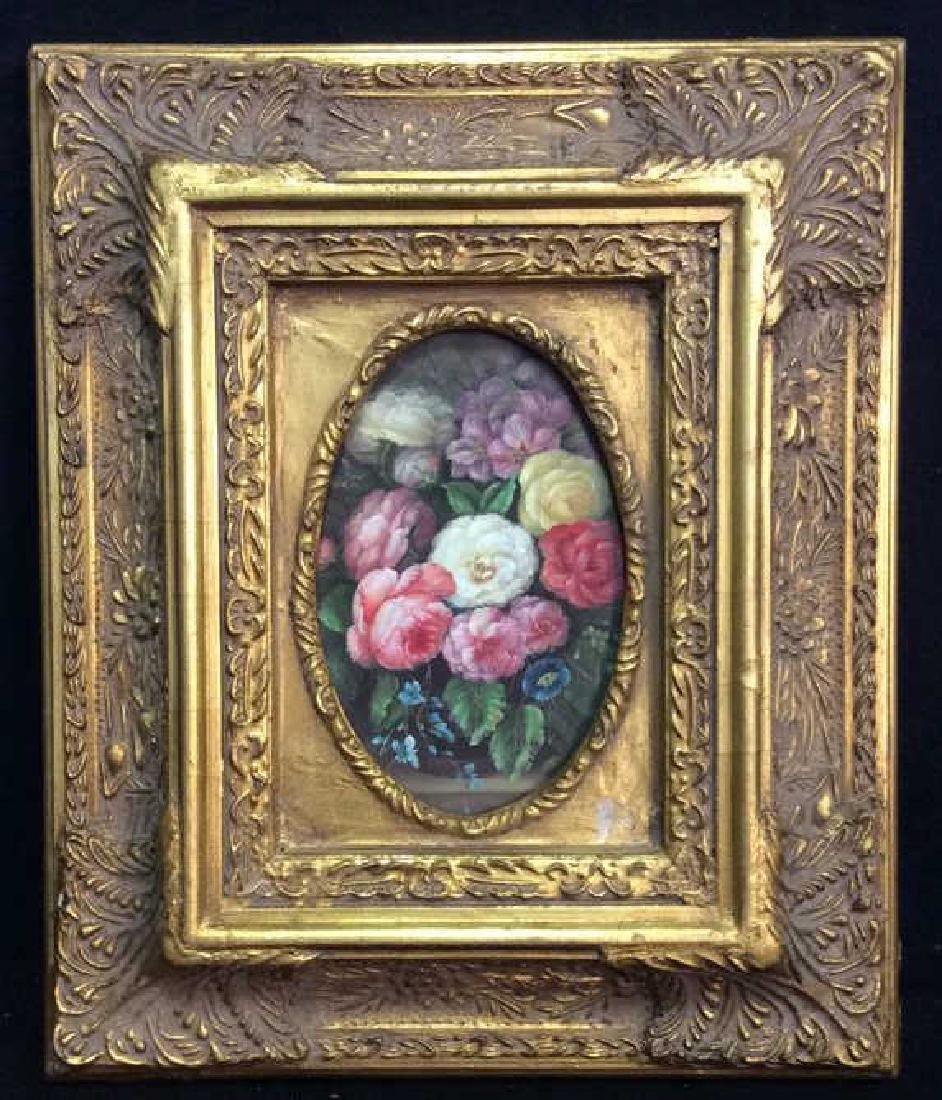 Professionally Framed Floral Illustration Gold