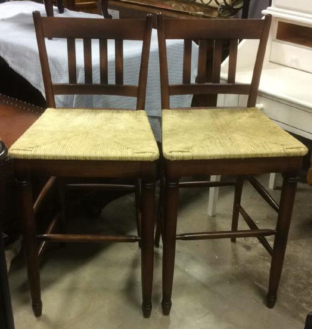 Set Three WalnutToned Wood Rush Seat Bar Stools